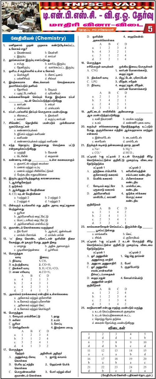 TNPSC -VAO Model Question Paper -Part5-Chemistry (2015)
