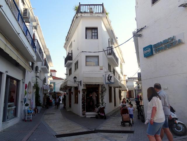 Corner street from Papadiamanti pedestrian street in Skiathos old town