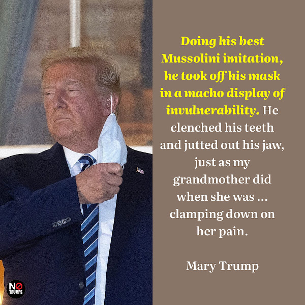 Doing his best Mussolini imitation, he took off his mask in a macho display of invulnerability. He clenched his teeth and jutted out his jaw, just as my grandmother did when she was ... clamping down on her pain. — Mary Trump, a clinical psychologist