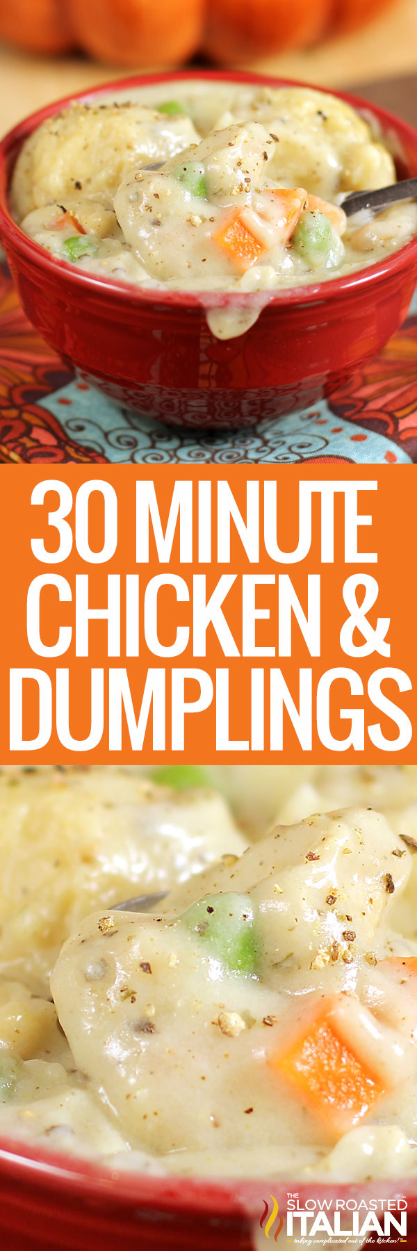 titled photo (and shown): 30 Minute Chicken and Dumplings Recipe
