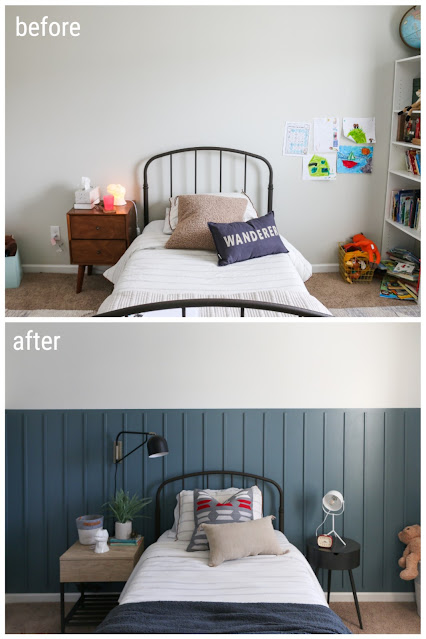 Before and After- A Fun and Fresh take on a Red, White, and Blue Boy's Room