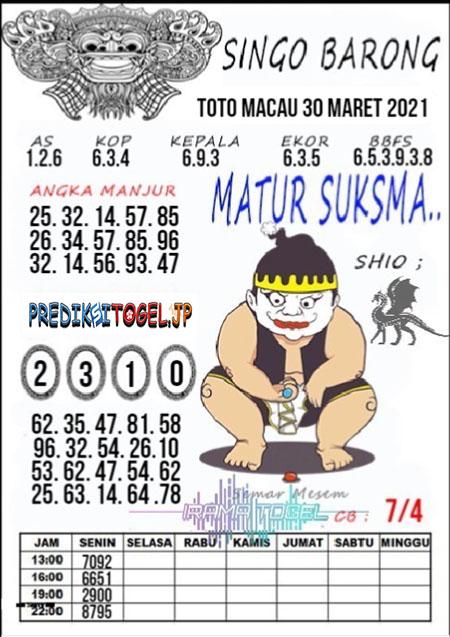 Syair Top Singo Barong Toto Macau Selasa 30 Maret 2021
