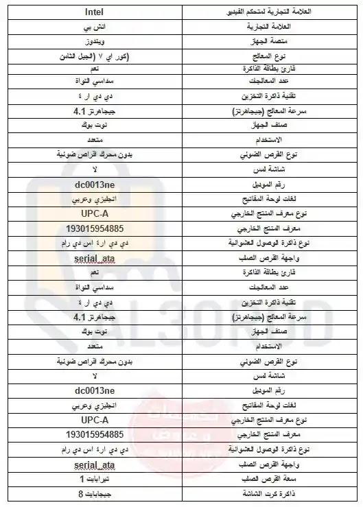 أسعار ومواصفات لاب توب اتش بى dc0013ne الجبار فى مصر 2019