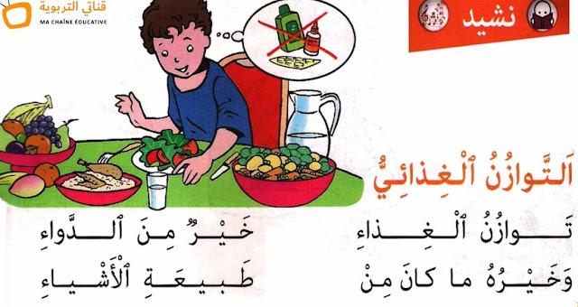 نشيد التوازن الغذائي - مع الموسيقى للتلاميذ - كتابي و مرشدي في اللغة العربية المستوى الثاني