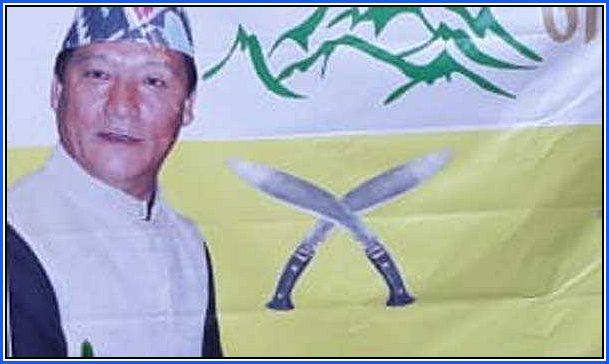 Bimal Gurung in his Gorkha Janmukti Morcha Flag