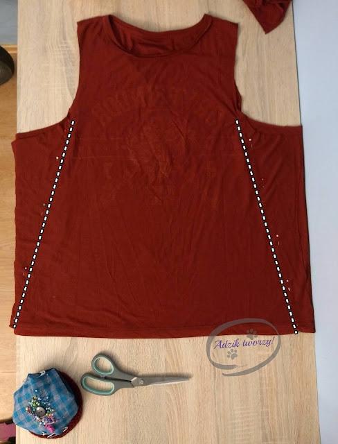 Adzik tworzy - szycie DIY bluzka trapezowa z t-shirtu
