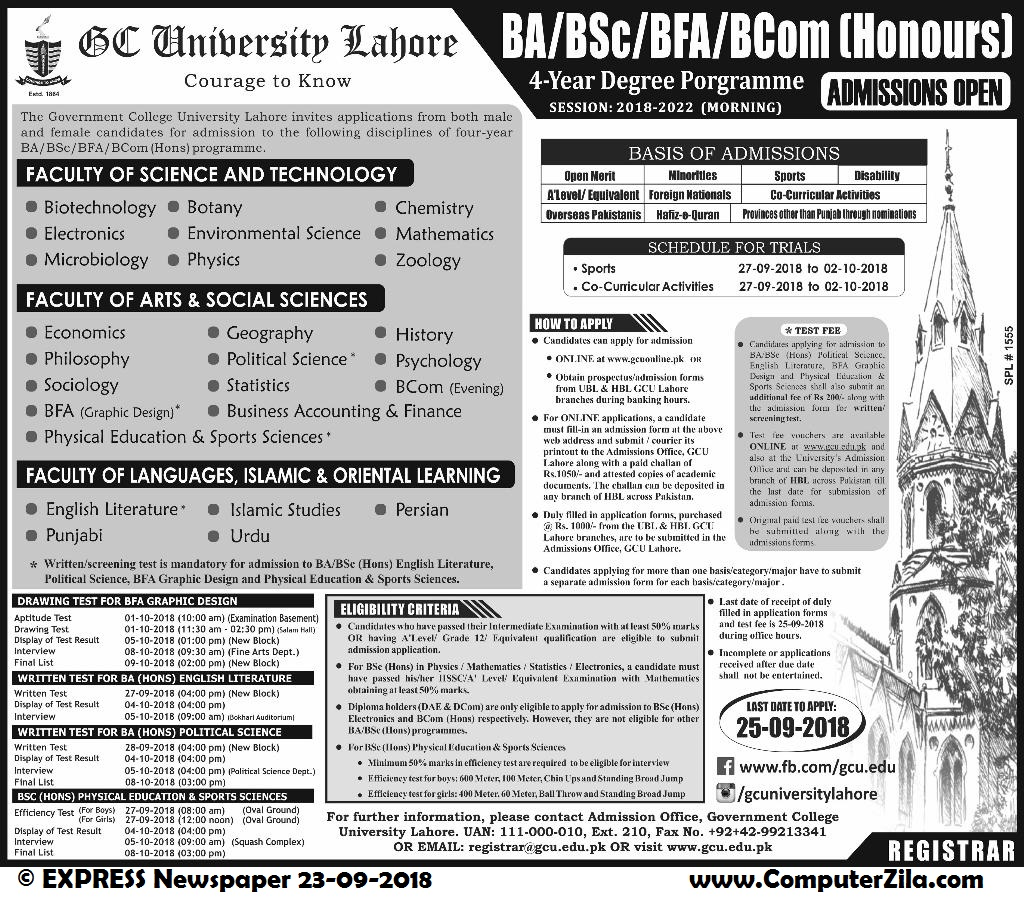 Admissions Open For Fall 2018 At GCU Lahore Campus