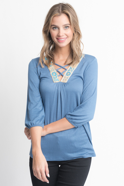 Shop for Blue Cross Front Blouse -Criss Cross Front Floral Trim Elastic Cuff Top on caralase.com