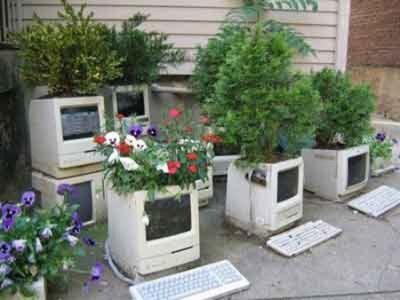 Monitor komputer jadi pot tanaman hias