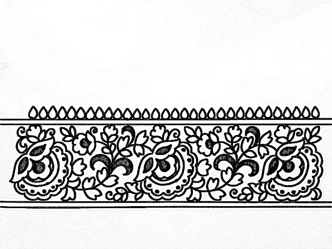 Saree ka kinara/Sadi ka kinara drawing for hand embroidery designs