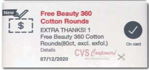 free beauty 360 cotton rounds at cvs this week
