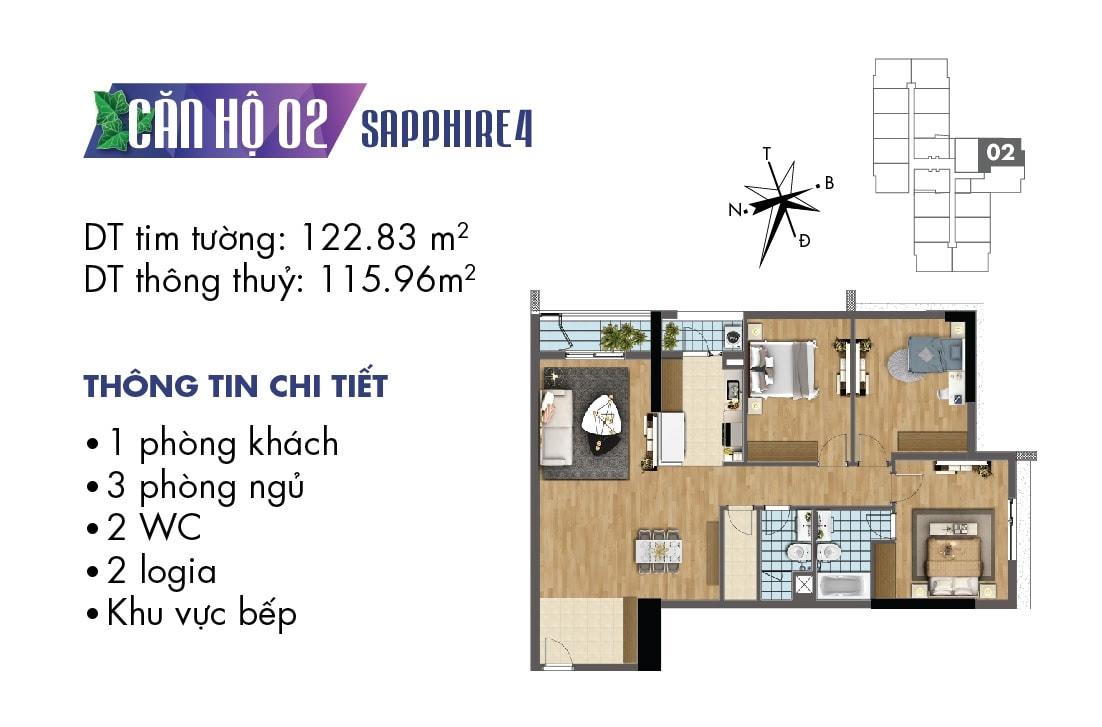 Mặt bằng căn hộ 02 tòa Sapphire 4