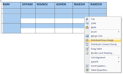 How to create table in ms word