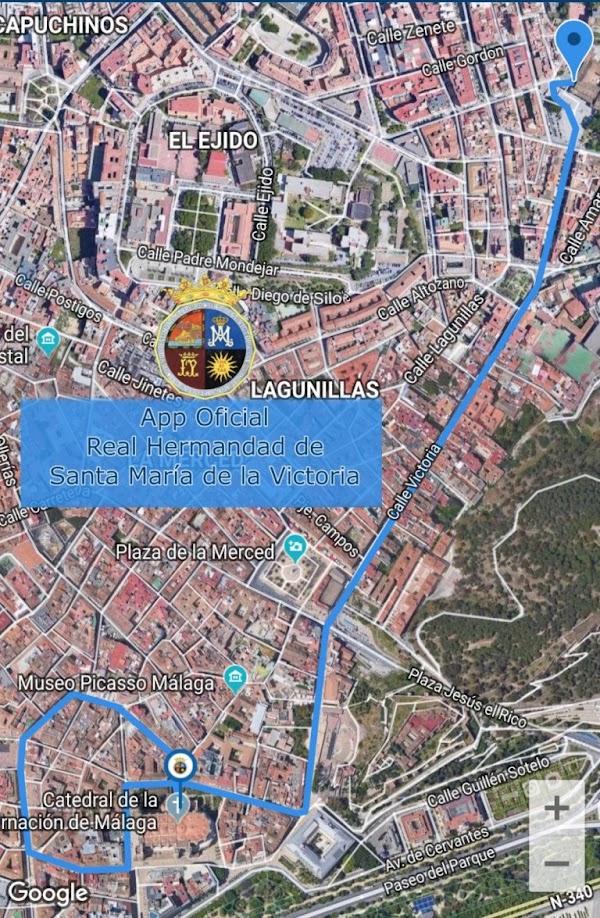 Horario e Itinerario de la Procesión Santa María de la Victoria patrona de Málaga. 08 de Septiembre del 2019