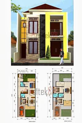 Sketsa Rumah Minimalis Dua Kamar Desain Lantai Arsitek Konsep Denah