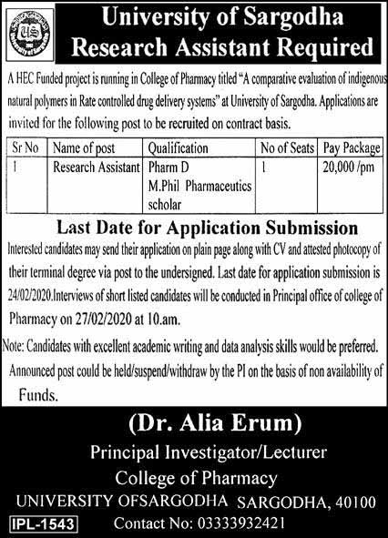 University Of Sargodha Jobs For Research Assistant February 2020