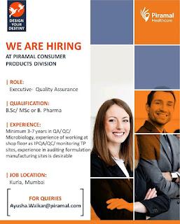 piramal hiring for Executive jobs - Quality Assurance