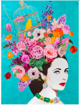 Pop art portrait of Elizabeth Taylor by Ashley Longshore