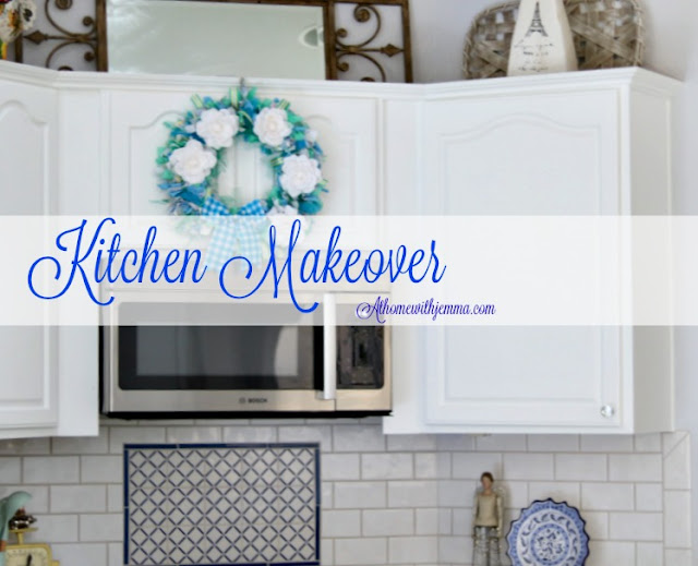 subway, tile, white, blue, cabinets, makeover, update, paint, modern