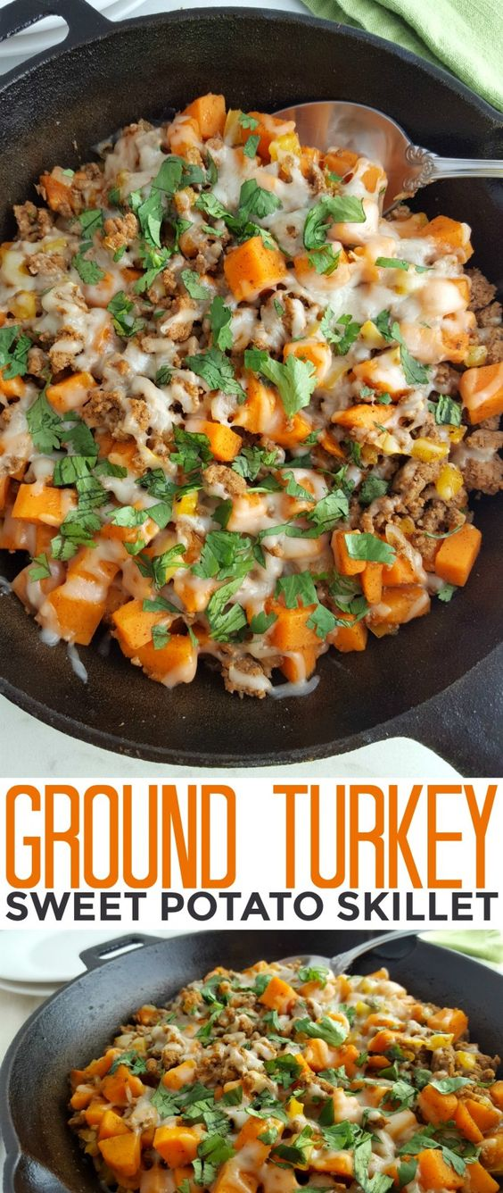 GROUND TURKEY SWEET POTATO SKILLET #recipes #healthymeals #food #foodporn #healthy #yummy #instafood #foodie #delicious #dinner #breakfast #dessert #lunch #vegan #cake #eatclean #homemade #diet #healthyfood #cleaneating #foodstagram