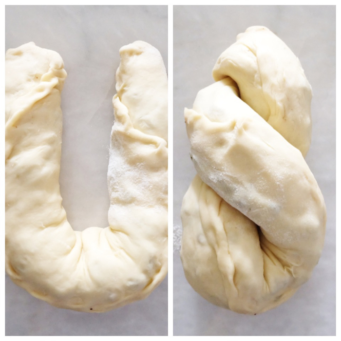 shaping rolled dough into U and twisting