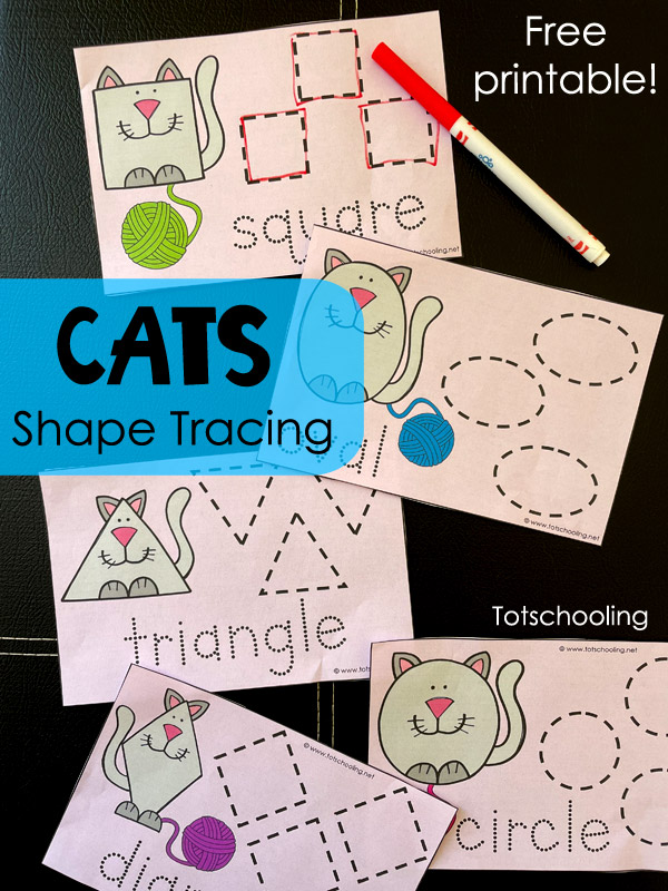 FREE printable Cat themed tracing cards for kids to learn shapes and practice tracing and fine motor handwriting skills.