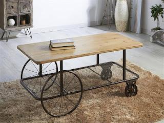 mesa baja de centro estilo rustico industrial