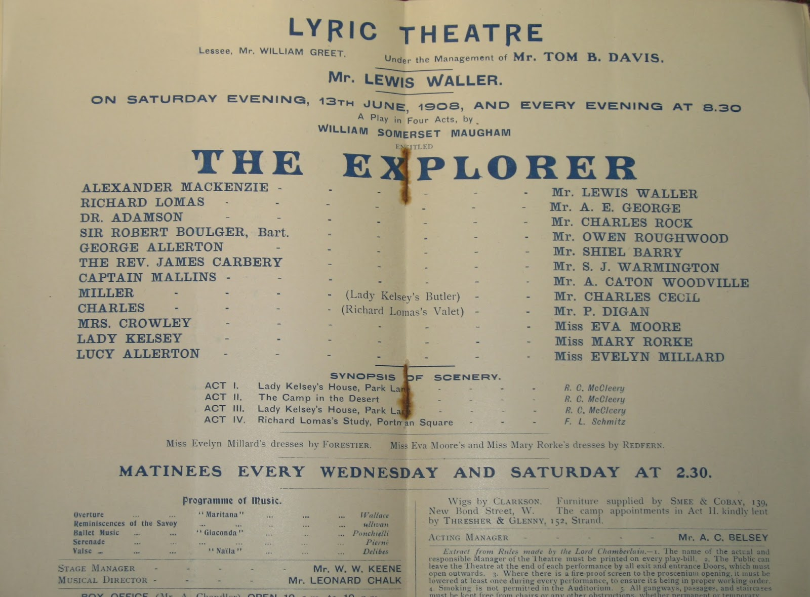 The Explorer by W. Somerset Maugham, Theatrical Programme 1908