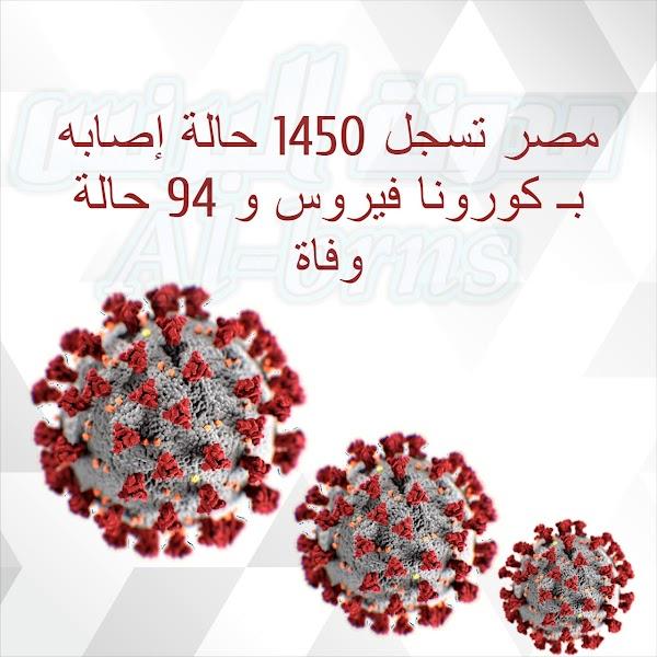مصر تسجل 1450 حالة إصابه بـ كورونا فيروس و 94 حالة وفاه