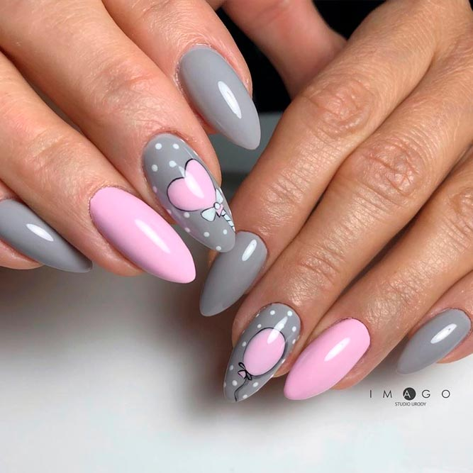 Winter Grey Almond Shaped Nails