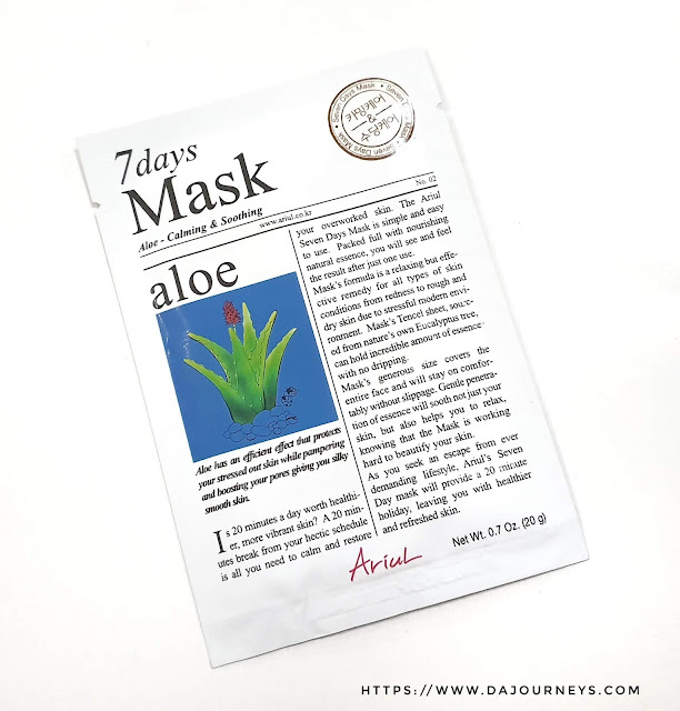 Review ARIUL 7 Day Masks Aloe