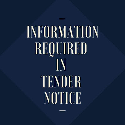 Information Required In Tender Notice