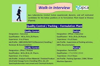 10th Pass, 12th Pass, ITI, M.Sc./B.Sc./ B.Pharm Job Vacancy Walk In Interview For Ipca Laboratories Limited