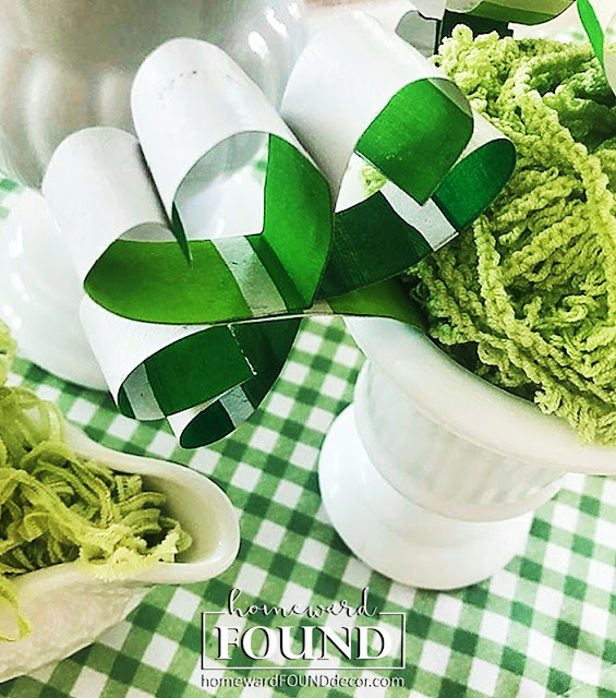 paper crafts, green decor, saint patricks day, march decor, spring decor, DIY, shamrocks, shamrock decor, diy decorating, home decor, paint chips, painting, party decor