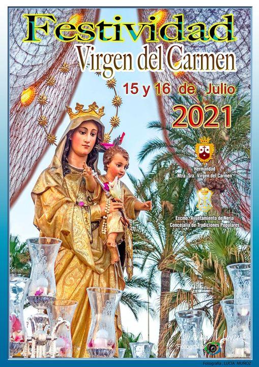 Cartel  para la festividad Virgen del Carmen 2021 de Nerja