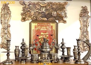 Đỉnh đồng thờ cúng, bộ đồ thờ phú quý khảm vàng
