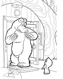 דפים לצביעה מאשה והדוב מישקה