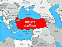 Türkiye'ye yakın ve komşu ülkelerin harita üzerinde gösterimi