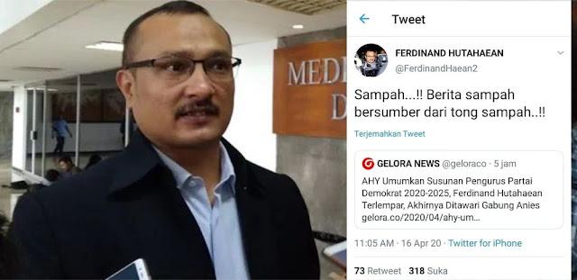 Ferdinand Hutahaean Emosi Lihat Berita Dirinya Terlempar Dari Susunan Pengurus Partai Demokrat