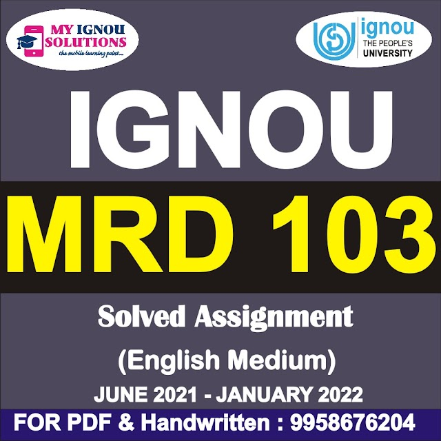 MRD 103 Solved Assignment 2021