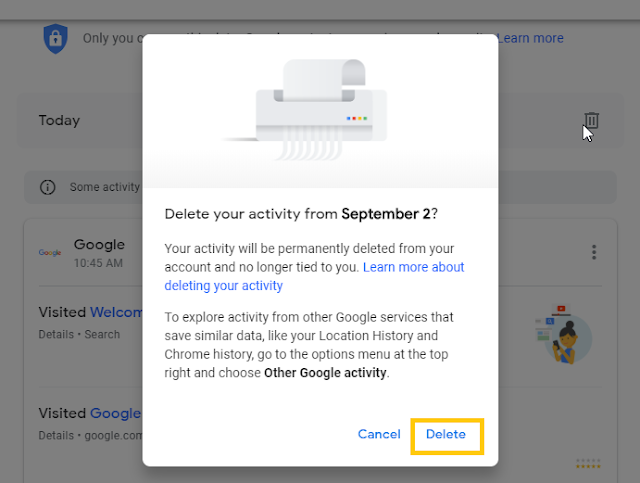 delete all your activity from google record