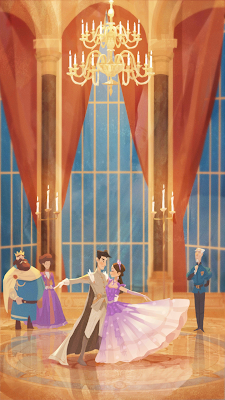 Princess Signy dancing with Prince Aldous in a royal ballroom