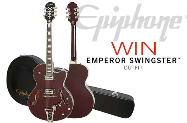 Epiphone wants you to enter to win this fancy new Epiphone Emperor Swingster Guitar in a Wine Red finish, complete with a hard case included!
