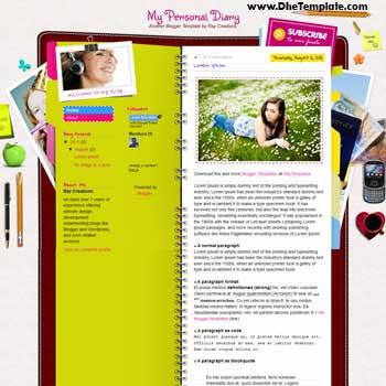 My Personal Diary blogger template. personal diary blogger template. free blogspot template