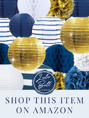Navy Blue and Gold Paper Party Lanterns