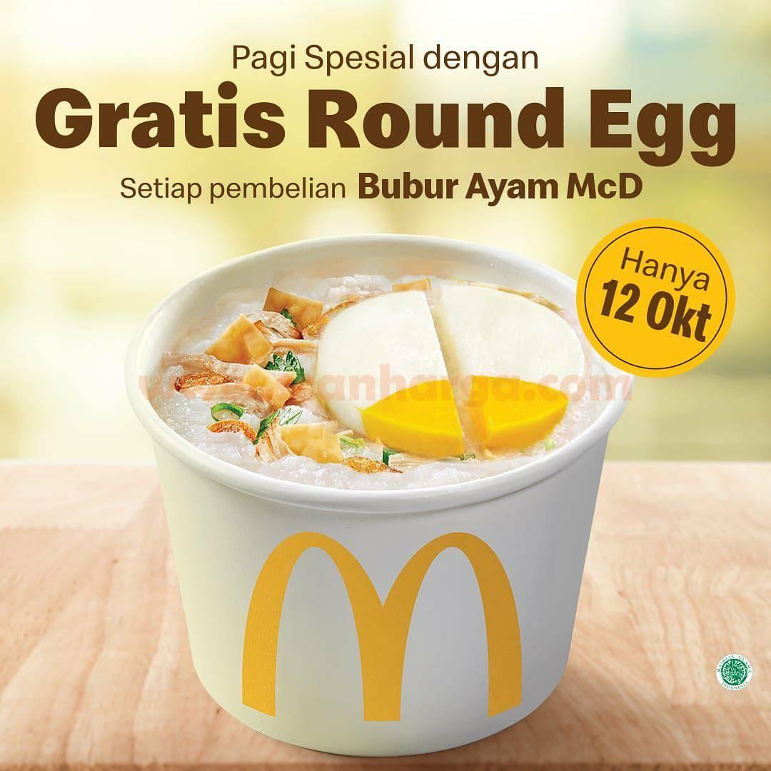 Promo McDonalds Gratis Round Egg Setiap Pembelian Bubur Ayam McD