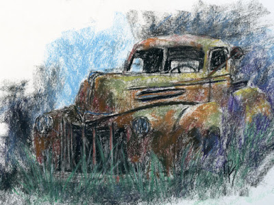 sketch drawing charcoal paste truck abandoned rust rusty