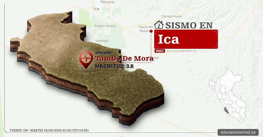 Temblor en Ica de Magnitud 3.8 (Hoy Martes 30 Junio 2020) Sismo - Epicentro - Tambo De Mora - Chincha - IGP - www.igp.gob.pe