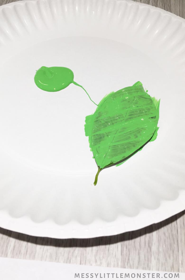 leaf printing craft for kids