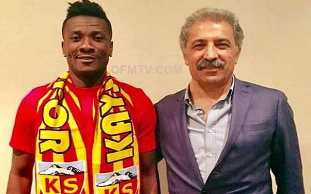 Ghana captain Asamoah Gyan will earn €550,000 annually at Turkish Kayserispor.